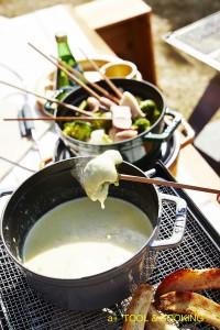 BBQグリルでチーズフォンデュ