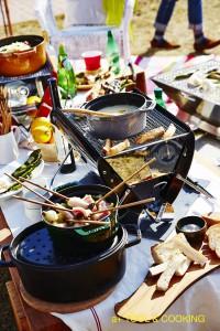 BQグリルで作るはまぐりと菜花のスパゲティー