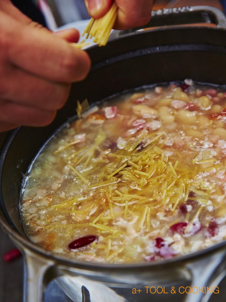 豆とパスタのスープ