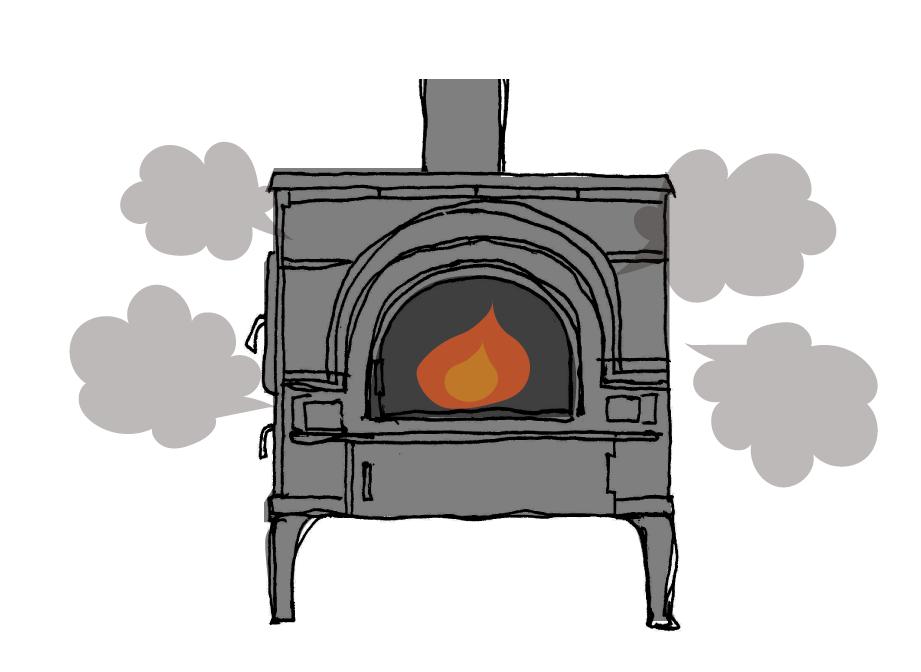 煙突から排出された煙が下に流れる逆流現象