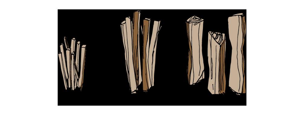 薪のサイズは、太割(10〜12cm程度)・中割(6〜7cm程度)・小割(2〜3cm)の3種類
