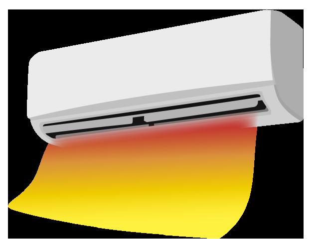 エアコンやファンヒーターは100%対流型の暖房です。